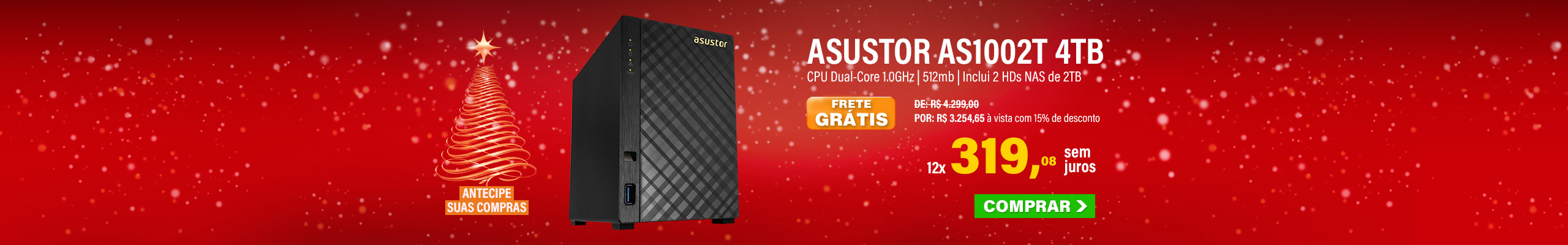 NAS ASUSTOR | AS1002T + 4TB | INCLUI 2 HDS NAS DE 2TB | GIGABIT | MPN: AS1002T