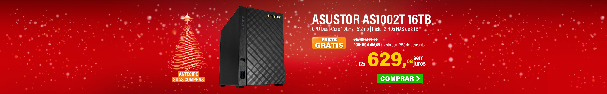 NAS ASUSTOR | AS1002T V2 | 16TB | CPU DUAL-CORE 1.6GHZ | 512MB RAM | INCLUI 2 HDS NAS DE 8TB 7200 RPM | MPN: AS1002T16000