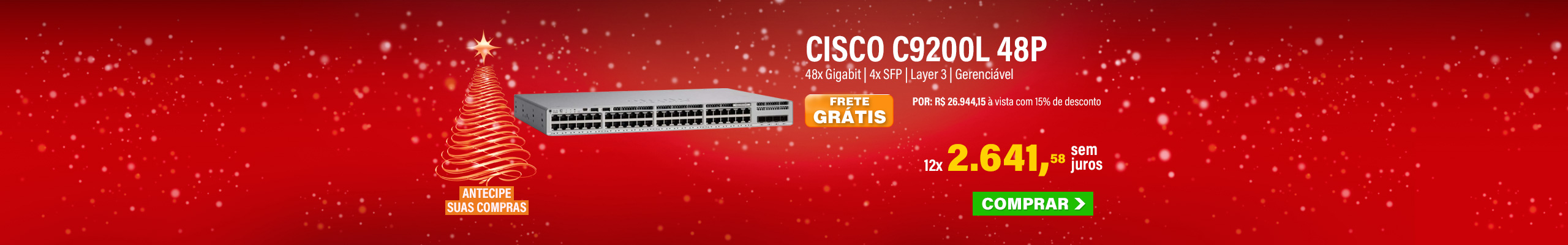 SWITCH CISCO C9200L | 48 PORTAS GIGABIT | 4X SFP | NETWORK ESSENTIALS | LAYER 3 | GERENCIÁVEL | MPN: C9200L-48T-4G-E-BR