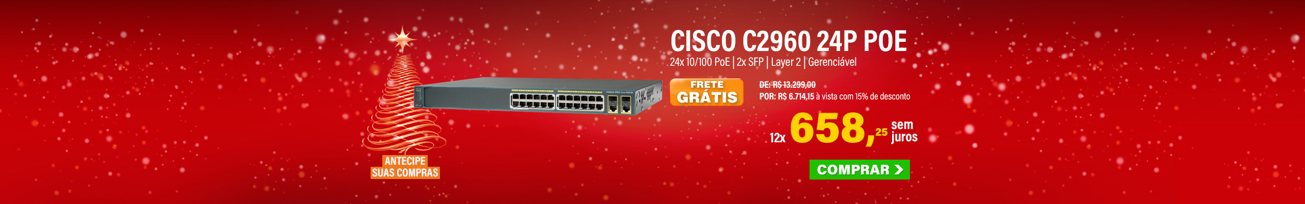 SWITCH CISCO | CATALYST 2960 | 24 PORTAS 10/100 POE | 2X SFP | LAYER2 | GERENCIÁVEL | MPN: WS-C2960+24PC-BR