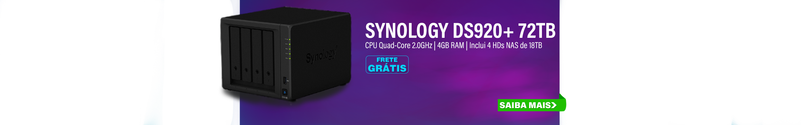 NAS SYNOLOGY | DISKSTATION DS920+ | 72TB | CPU INTEL CELERON QUAD-CORE 2.0GHZ | 4GB DDR4 | INCLUI 4 HDS EXOS DE 18TB