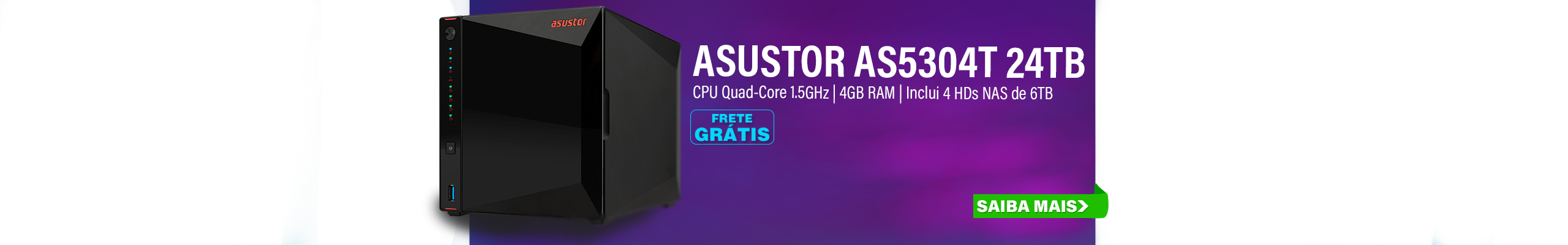 NAS ASUSTOR | AS5304T | 24TB | 2X 2,5 GBE | CPU INTEL QUAD-CORE 1,5 GHZ | 4GB DDR4 | INCLUI 4 HDS NAS DE 6TB