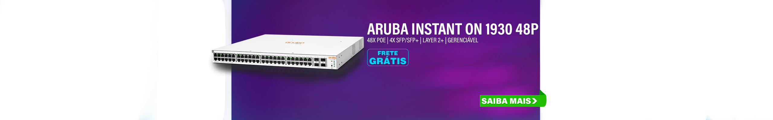 SWITCH HPE | ARUBA INSTANT ON 1930 | 48 PORTAS GIGABIT | 48X POE 370W CLASS 4 | 4X SFP/SFP+ (1/10GBE) | LAYER 2+ | GERENCIÁVEL | MPN: JL686A