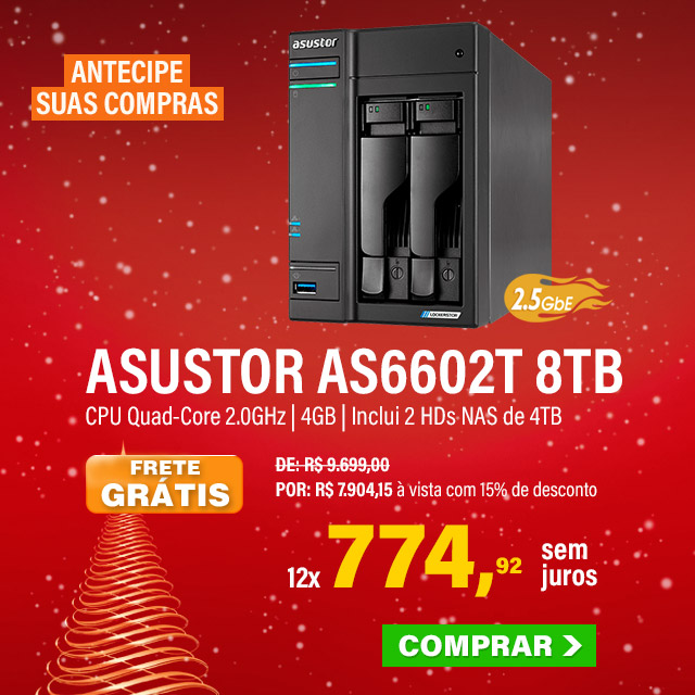 NAS ASUSTOR | LOCKERSTOR 2 AS6602T | 8TB | CPU INTEL QUAD-CORE 2.0 GHZ | 4GB DDR4 | 2X 2.5GBE | INCLUI 2 HDS NAS DE 4TB