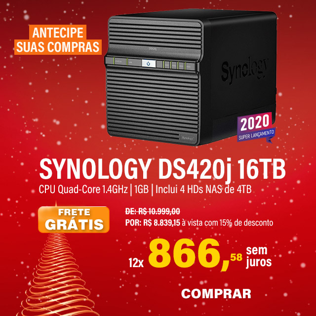 NAS SYNOLOGY | DISKSTATION DS420J | 16TB | CPU REALTEK RTD1296 QUAD-CORE 1.4 GHZ | 1 GB DDR4 | INCLUI 4 HDS NAS DE 4TB