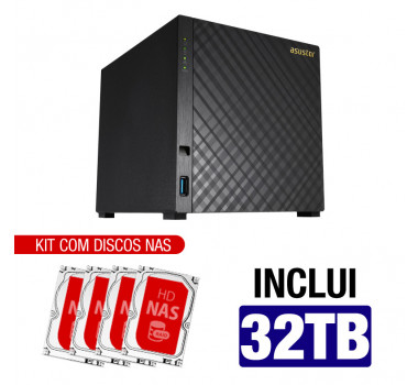 NAS Asustor | AS1004T V2 | 32TB | CPU Dual-Core 1.6 Ghz | 512MB RAM | Inclui 4 HDs NAS de 8TB