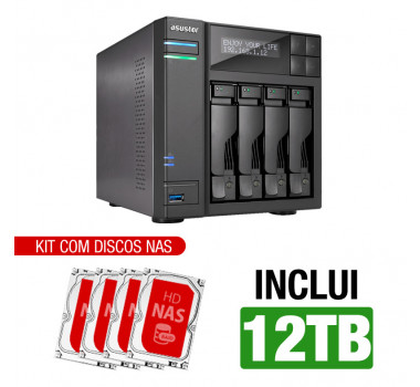 NAS Asustor | AS6404T | 12TB | CPU Intel Quad-Core 1.5 Ghz | 8GB RAM | Inclui 4 HDs NAS de 3TB