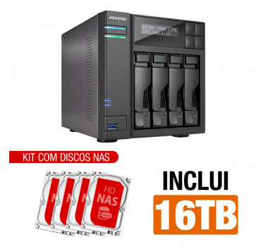 NAS Asustor | AS6404T | 16TB | CPU Intel Quad-Core 1.5 Ghz | 8GB RAM | Inclui 4 HDs NAS de 4TB