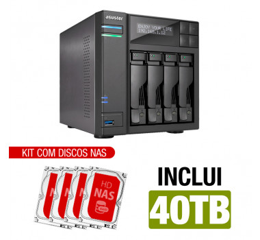 NAS Asustor | AS6404T | 40TB | CPU Intel Quad-Core 1.5 Ghz | 8GB RAM | Inclui 4 HDs NAS de 10TB