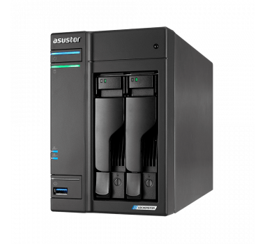 NAS Asustor | Lockerstor 2 AS6602T | 2 Baias | CPU Intel Quad-Core 2.0 GHz | 4GB DDR4 | 2x 2.5GbE | Sem Discos