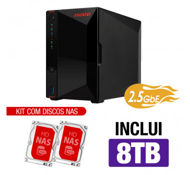 NAS Asustor | Nimbustor 2 AS5202T | 8TB | 2x 2,5 GbE | CPU Intel Dual-Core 2.0 GHz | 2GB DDR4 | Inclui 2 HDs NAS de 4TB