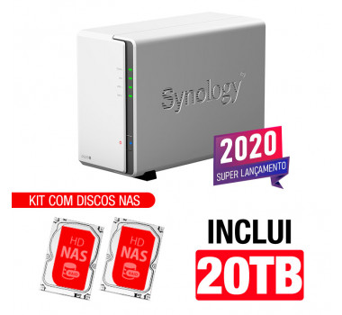 NAS Synology | DiskStation DS220j | 20TB | CPU Realtek RTD1296 Quad-core 1,4 GHz | 512 MB DDR4 | Inclui 2 HDs NAS de 10TB