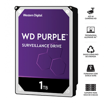 HD Interno | WD Purple | 1TB | Ideal para vigilância | 24x7 | MPN: WD10PURZ