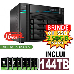 NAS Asustor | Lockerstor 8 AS6508T | 144TB | CPU Intel Quad Core 2.1GHz | 8GB RAM | 10 GbE | Inclui 8 HDs EXOS de 18TB