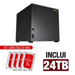 NAS Asustor | AS1004T V2 | 24TB | CPU Dual-Core 1.6 Ghz | 512MB RAM | Inclui 4 HDs NAS de 6TB