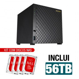 NAS Asustor | AS1004T V2 | 56TB | CPU Dual-Core 1.6 Ghz | 512MB RAM | Inclui 4 HDs NAS de 14TB
