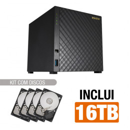 NAS Asustor | AS1004T V2 | 16TB | Dual-Core 1.6 Ghz | 512MB RAM | Inclui 4 HDs de 4TB | Gigabit | MPN: AS1004T