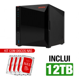 NAS Asustor | AS5304T | 12TB | 2x 2,5 GbE | CPU Intel Quad-Core 1,5 GHz | 4GB DDR4 | Inclui 4 HDs NAS de 3TB