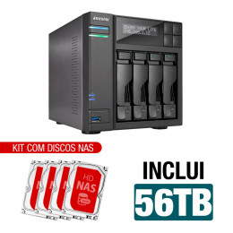 NAS Asustor | AS6404T | 56TB | CPU Intel Quad-Core 1.5 Ghz | 8GB RAM | Inclui 4 HDs NAS de 14TB