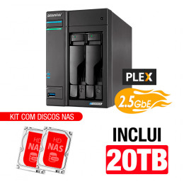 NAS Asustor | Lockerstor 2 AS6602T | 20TB | CPU Intel Quad-Core 2.0 GHz | 4GB DDR4 | 2x 2.5GbE | Inclui 2 HDs NAS de 10TB