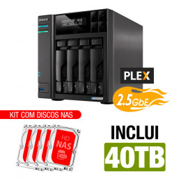NAS Asustor | Lockerstor 4 AS6604T | 40TB | CPU Intel Quad-Core 2.0 GHz | 4GB DDR4 | 2x 2.5GbE | Inclui 4 HDs NAS de 10TB