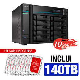 NAS Asustor | Lockerstor 10 AS6510T | 140TB | CPU Intel Quad Core 2.1GHz | 8GB RAM | 10 GbE | Inclui 10 HDs NAS de 14TB
