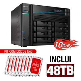 NAS Asustor | Lockerstor 8 AS6508T | 48TB | CPU Intel Quad Core 2.1GHz | 8GB RAM | 10 GbE | Inclui 8 HDs NAS de 6TB