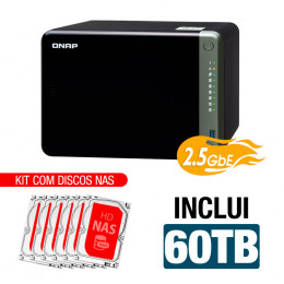 NAS Qnap | TS-653D-4G | 60TB | CPU Intel Quad-Core 2.0GHz | 4GB DDR4 | 2.5GbE | Inclui 6 HDs NAS de 10TB