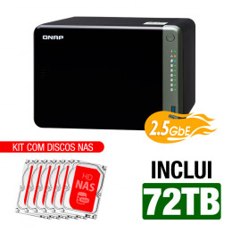 NAS Qnap | TS-653D-4G | 72TB | CPU Intel Quad-Core 2.0GHz | 4GB DDR4 | 2.5GbE | Inclui 6 HDs NAS de 12TB