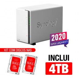 NAS Synology | DiskStation DS220j | 4TB | CPU Realtek RTD1296 Quad-core 1,4 GHz | 512 MB DDR4 | Inclui 2 HDs NAS de 2TB
