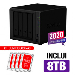 NAS Synology | DiskStation DS920+ | 8TB | CPU Intel Quad-core 2.0GHz | 4GB DDR4 | Inclui 4 HDs NAS de 2TB