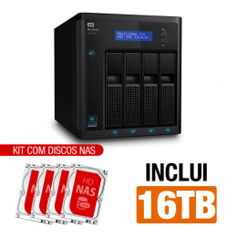 Nas WD | My Cloud Expert | EX4100 | 16TB | Dual-Core 1.6 Ghz | 2GB RAM | 2x Gigabit | Inclui 4 HDs NAS de 4TB