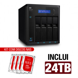 Nas WD | My Cloud Pro | PR4100 | 24TB | Quad-Core 1.6 Ghz | 4GB RAM | 2X Gigabit | Inclui 04 HDs NAS de 6TB | 7200 RPM | MPN: PR4100