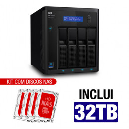 Nas WD | My Cloud Pro | PR4100 | 32TB | Quad-Core 1.6 Ghz | 4GB RAM | 2x Gigabit | Inclui 04 HDs NAS de 8TB | 7200 RPM | MPN: PR4100
