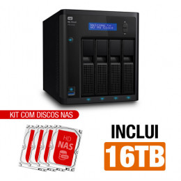 Nas WD | My Cloud Pro | PR4100 | 16TB | Quad-Core 1.6 Ghz | 4GB RAM | 2x Gigabit | Inclui 04 HDs NAS de 4TB | MPN: PR4100