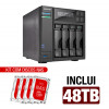 NAS Asustor | AS6404T | 48TB | CPU Intel Quad-Core 1.5 Ghz | 8GB RAM | Inclui 4 HDs NAS de 12TB
