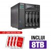NAS Asustor | AS6404T | 8TB | CPU Intel Quad-Core 1.5 Ghz | 8GB RAM | Inclui 4 HDs NAS de 2TB